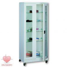 Gyógyszertároló szekrény, két ajtós, görgős (fém 102)