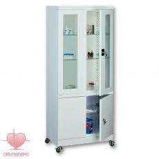 Gyógyszertároló szekrény, két ajtós, osztott, görgős (fém 104)