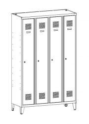 Öltözőszekrény, fém, dupla szellőzővel, 4 ajtós + lábazat (341w)
