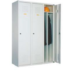 Öltözőszekrény, fém, 3 ajtós, válaszfallal (430)