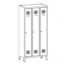 Öltözőszekrény, fém, dupla szellőzővel, 3 ajtós + lábazat + válaszfal (431w)