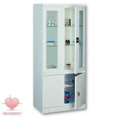 Gyógyszertároló szekrény, két ajtós, osztott (fém 114)