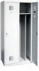 Öltözőszekrény, fém, dupla szellőzővel, 2 ajtós + válaszfal (420w)