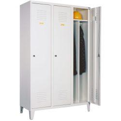 Öltözőszekrény, fém, 3 ajtós, lábakon álló, válaszfallal (431)