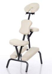 Összecsukható fémvázas masszázs szék 8 kg!!! Fehér vagy fekete műbőrrel. Hordtáskával.