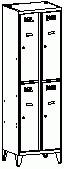 Öltözőszekrény, fém, szellőzővel, 4 osztott ajtó + láb (322 wn)