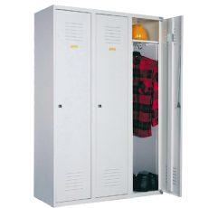 Öltözőszekrény, fém, 3 ajtós (330)