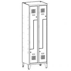 Öltözőszekrény, fém, szellőzővel, Z - 4 ajtós + lábazat (32 wn)